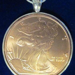 Walking Liberty Half Dollar Copper Round Necklace